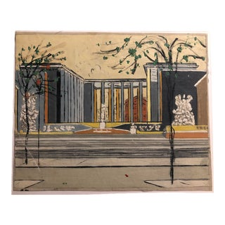 Mid-Century Oil on Canvas of a Modern Classical Courtyard With Sculpture 1960s For Sale