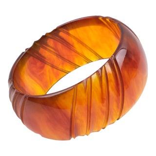Bakelite Carved Bracelet Bangle Red Tea Amber For Sale