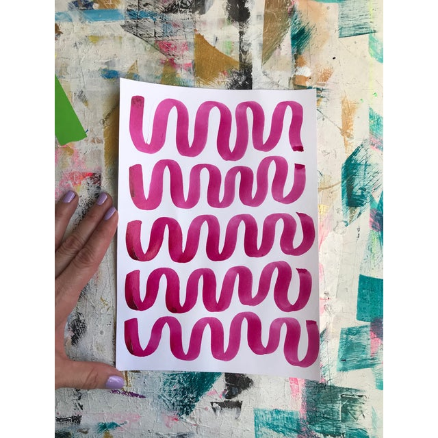 Abstract Modern Contemporary Pattern Pink and White Drawing For Sale - Image 3 of 5