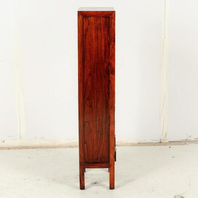 1970s Tall Slim Elm Jewelry Dresser With Brass Chinoiserie Pulls For Sale - Image 5 of 12