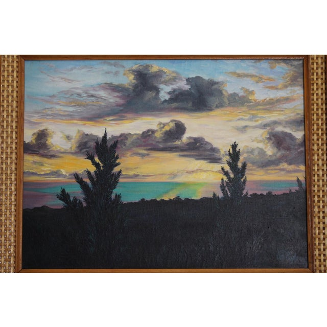 John De Ponce Hawaiian Sunset Landscape Painting - Image 3 of 11