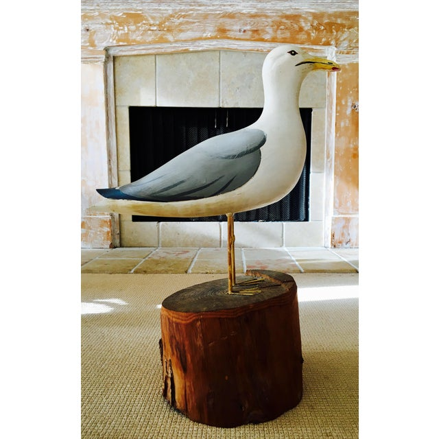 Wooden Seagull Mounted on Pedestal For Sale - Image 4 of 8