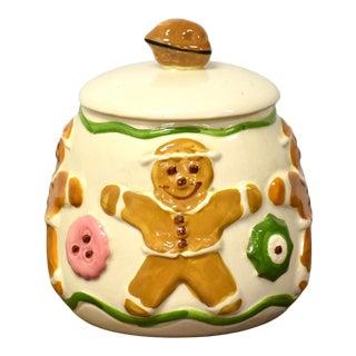 Vintage Pottery Gingerbread Men Cookie Jar For Sale