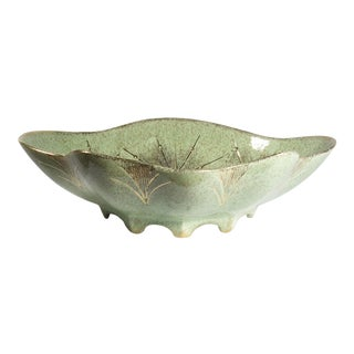 Mid-Century Celadon Green Footed Bowl For Sale