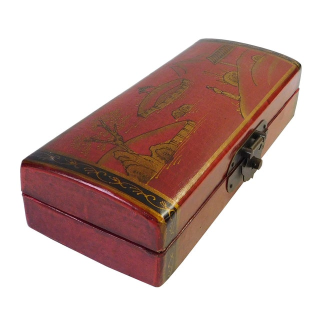 Asian Chinese Oriental Red Rectangular Box For Sale - Image 3 of 6