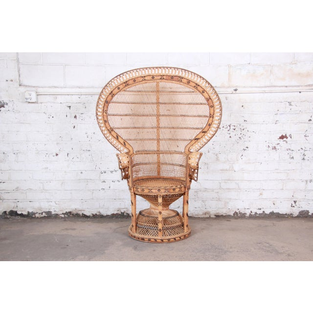 "1970s Bohemian Wicker ""Emanuelle"" Peacock Chair For Sale - Image 13 of 13"