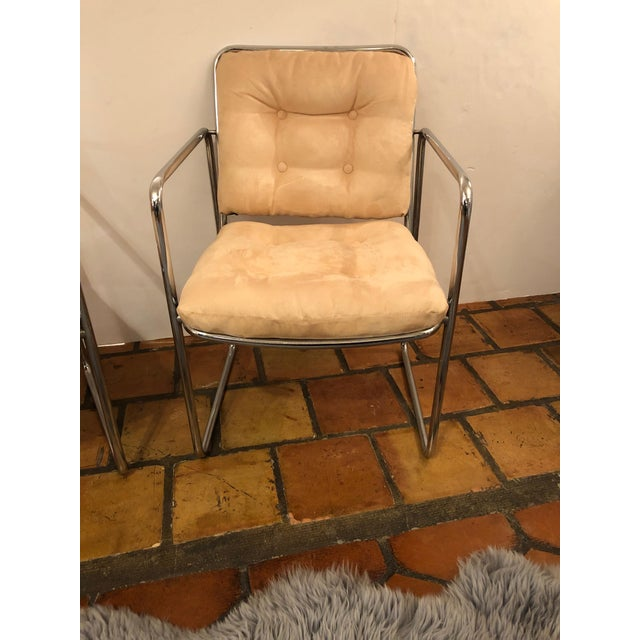 Mid-Century Modern Milo Baughman Style Mid Century Modern Ultra Suede and Chrome Club Chairs- a Pair For Sale - Image 3 of 10
