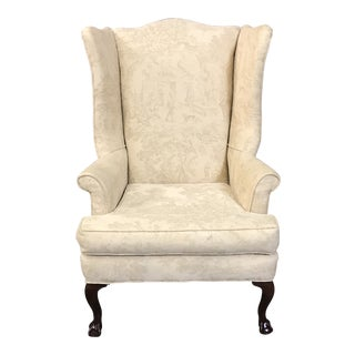 1990s Vintage Cream Toile Wingback Chair For Sale