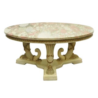 1960s French Empire Neoclassical Cornucopia Base Round Pink Marble Top Coffee Table For Sale