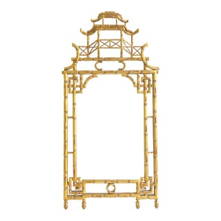 Vintage Italian Wooden Carved Pagoda Chinoiserie Gold Gilded Mirror
