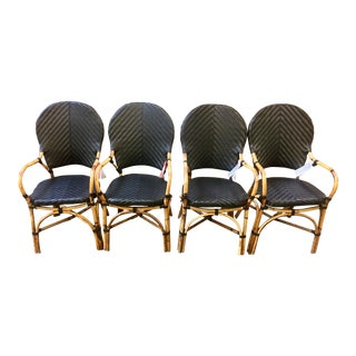 Modern Bamboo Rattan Wicker Dining Chairs- Set of 4 For Sale