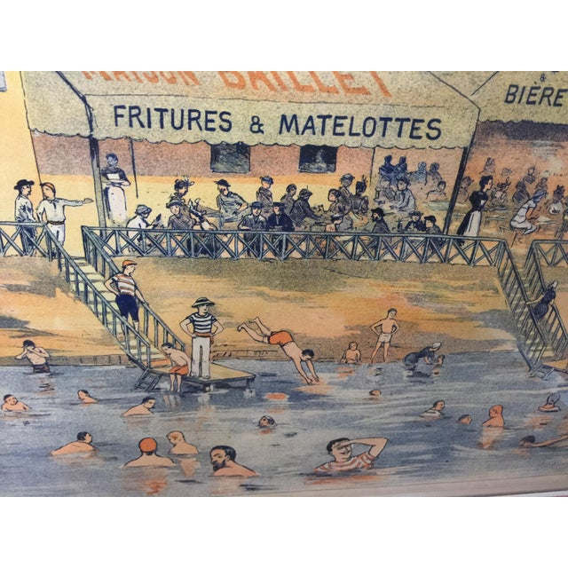 Antique French Advertising Poster Baignade De St . Maurice For Sale - Image 4 of 8