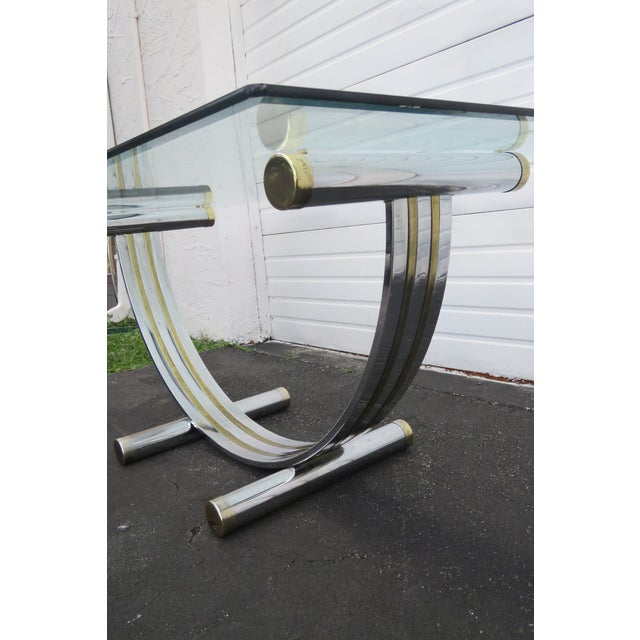 Metal Hollywood Regency Glass Top Dining Table With Eight Chairs by Basset For Sale - Image 7 of 13