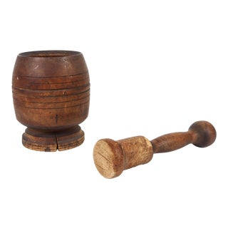 Wooden African Mortar and Pestle For Sale