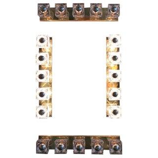 Fabio Ltd. Cube Murano Glass on Brass Frame Sconces / Flush Mounts (4 Available) For Sale