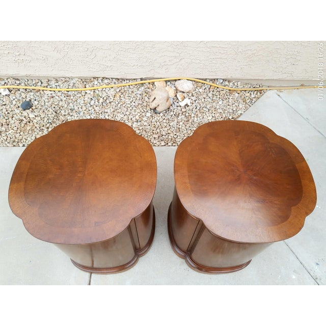 Henredon Walnut Clover Shaped End Tables - A Pair For Sale In Phoenix - Image 6 of 9