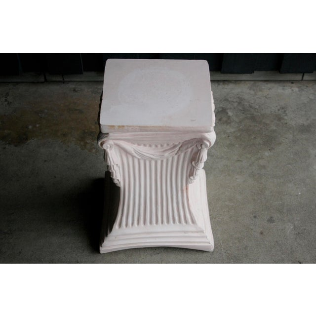 Plaster Pink Plaster Pedestal / Plant Stand / Side Table For Sale - Image 7 of 11