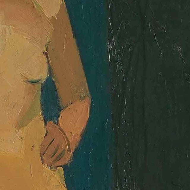 Edwardian Early 20th Century Oil Painting of Nude Female on Blue Background For Sale - Image 3 of 5