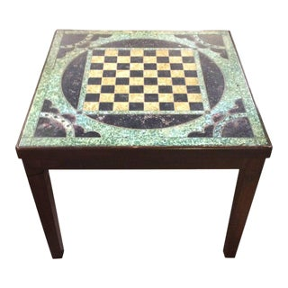 Wooden and Slate Game Board Motife Side Table For Sale