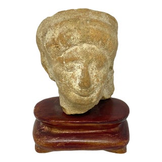 Pre Columbian Terra Cotta Head on Stand For Sale