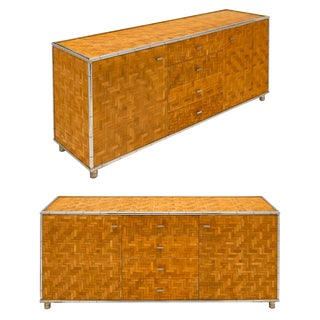 Pair of Bamboo Modernist French Buffets For Sale