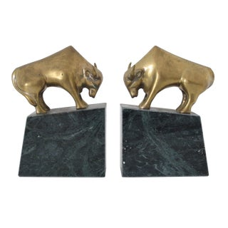 Brass & Marble Bull Bookends - A Pair