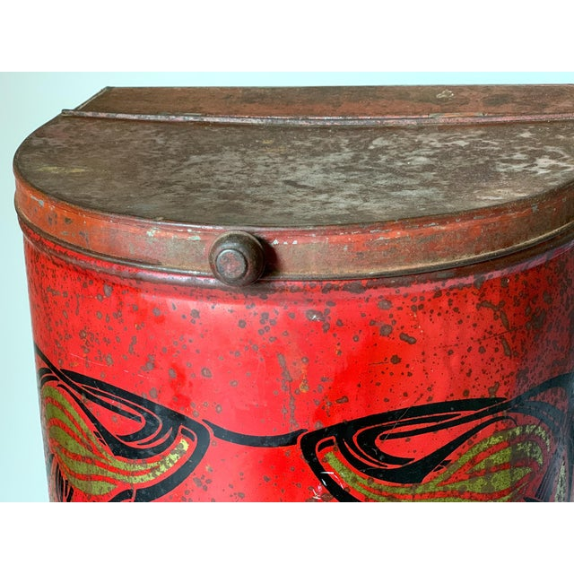 Metal 1920s Large French Country Store Coffee Tin For Sale - Image 7 of 11