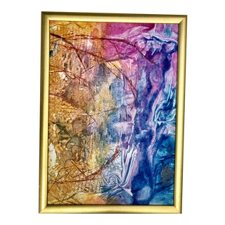 1980s Donna Snyder Pink and Blue Abstract, Framed For Sale