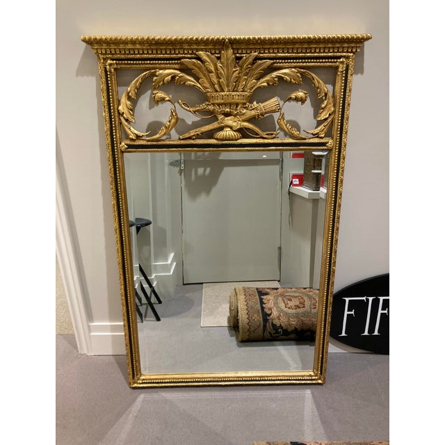 Large Vintage 1940s Plume-Top Hollywood Regency Mirror For Sale - Image 10 of 10