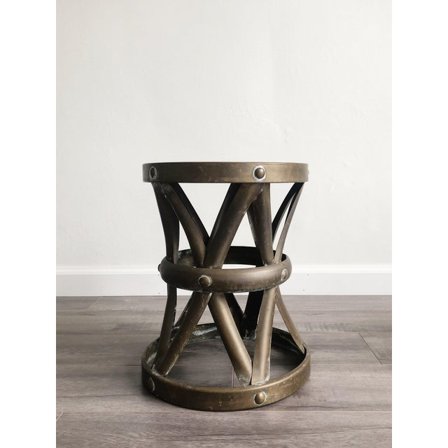 Metal 1960s Boho Chic Brass Drum Table For Sale - Image 7 of 7