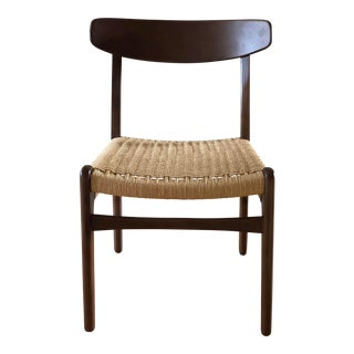 Hans Wegner Style Mid Century Woven Chair For Sale