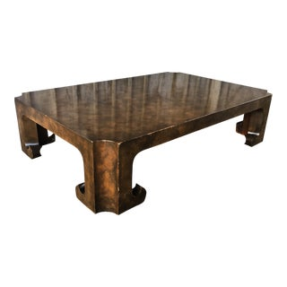 1970s Mid-Century Modern Baker Burl Wood Cocktail Table For Sale