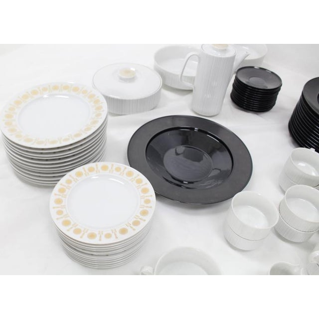 Tapio Wirkkala for Rosenthal Dinner Coffee 80 Pieces Set Plates Noire Porcelain For Sale In New York - Image 6 of 10