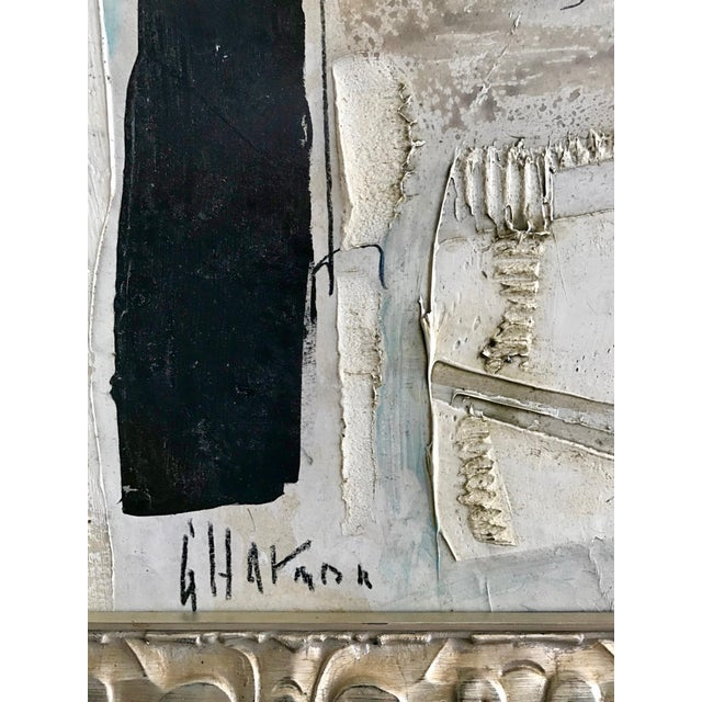 Mid-Century Modern 1960's Contemporary Black & White Abstract Painting by Graham Harmon For Sale - Image 3 of 8
