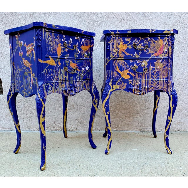 1930s Hand Painted Chinoiserie Nightstands with Birds - a Pair For Sale - Image 13 of 13