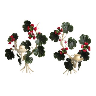 Vintage Tole Geranium Wall Sconce Candle Holders - a Pair For Sale