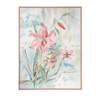 Ginny Masters - Lilies Watercolor on Paper For Sale