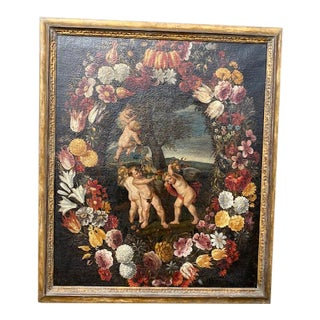 17th C. Italian Flemish Cherub Painting With Floral Wreath Motif For Sale
