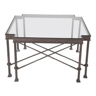 Modern Wrought Iron Giacometti Style Side Table For Sale