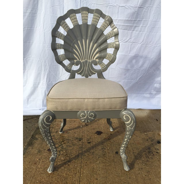 Shell Back Grotto Cast Aluminum Chairs & Glass Top Table - Image 2 of 8