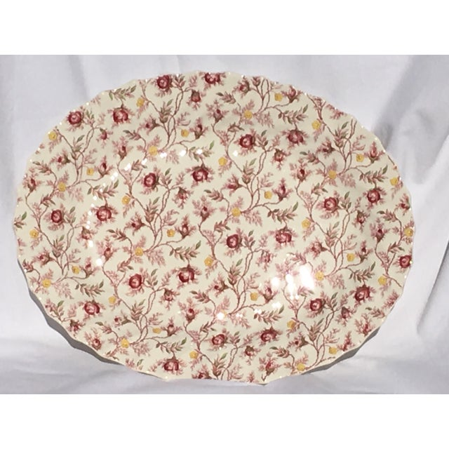 "Large Serving Platter by Spode Copeland in the pattern ""Rosebud Chintz. Finished in the Charlotte shape with a scalloped..."