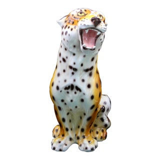 Monumental Italian Ceramic Leopard Statue For Sale