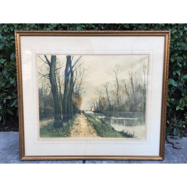 """Canal en Automne (France)"" Signed Henri Jourdain Color Etching For Sale - Image 13 of 13"