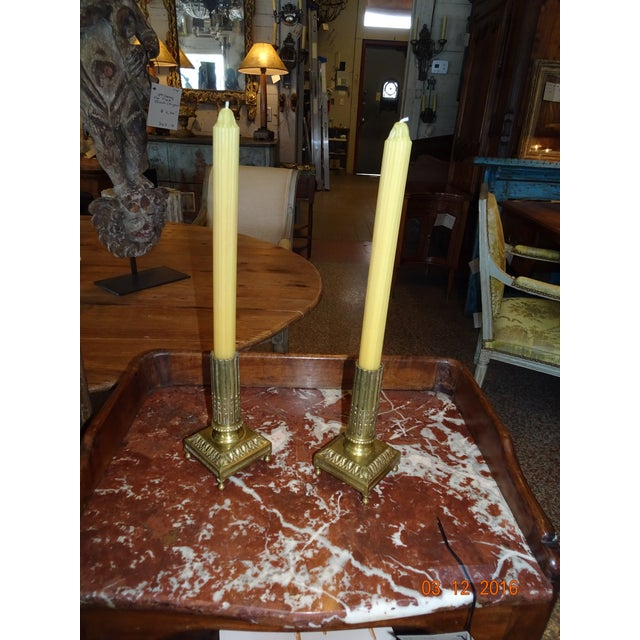 Gold Pair of Brass Candle Holders For Sale - Image 8 of 10