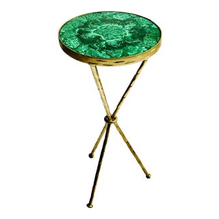 """Hammered Wrought Iron Green Malachite """"La Malaquita"""" Drink Table By Marjorie Skouras, Gold Finish"""