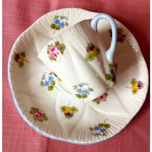 1990s 1990s Shelley Rose Pansy Forget Me Not Demitasse Coffee Service - Set of 5 For Sale - Image 5 of 9