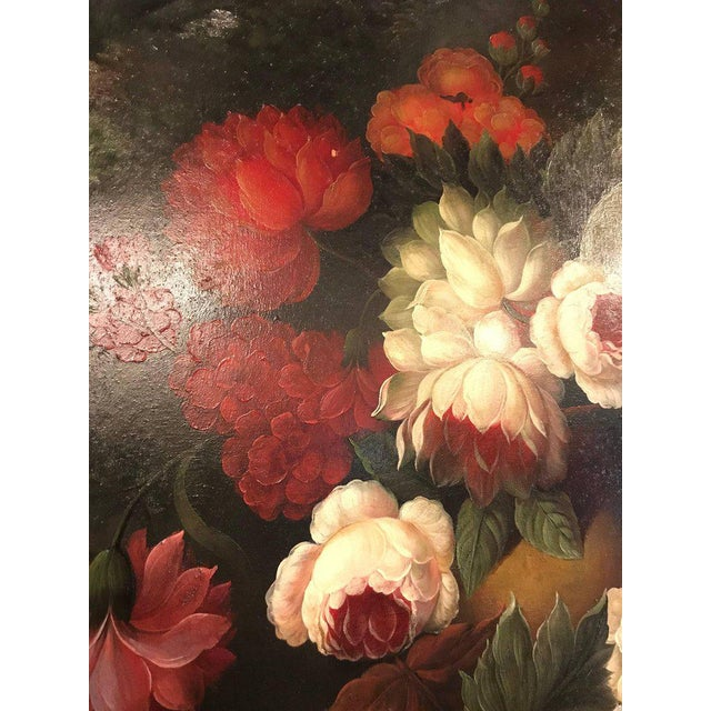 1970s A Palatial Framed Oil On Canvas Still Life Of Flowers For Sale - Image 5 of 12