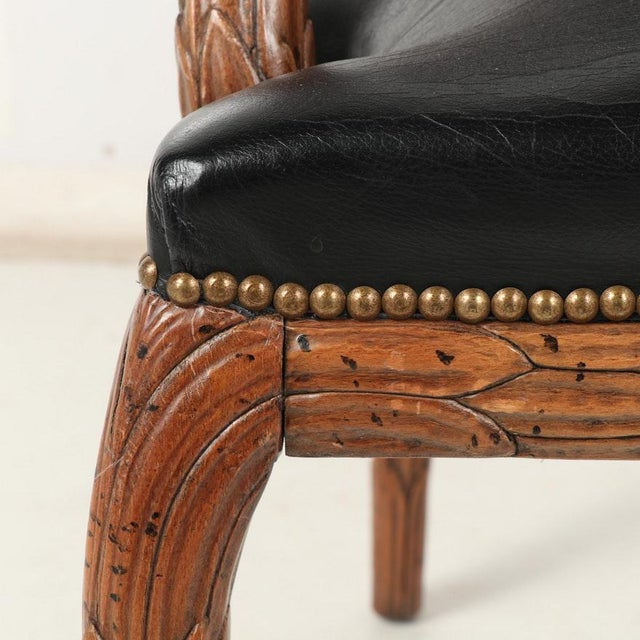 Vintage Mid Century Hand-Carved Italian Carved Wood Leather Bound Armchairs- A Pair For Sale - Image 10 of 13