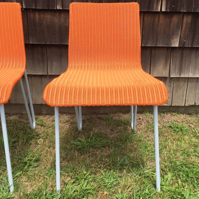 Orange Wicker & Metal Dining Chairs - Set of 8 - Image 2 of 7