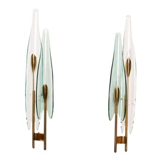 Pair of Fontana Arte Dahlia Wall Sconces by Max Ingrand For Sale